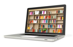 3d laptop with book shelves, digital internet library